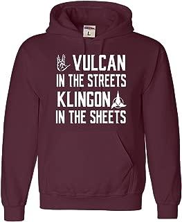 Large Maroon Adult Vulcan In The Streets Klingon In The Sheets Sweatshirt Hoodie