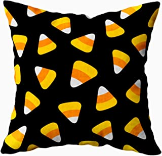 ROOLAYS Decorative Throw Square Pillow Case Cover 18X18Inch,Cotton Cushion Covers Halloween Candy Corn Happy Halloween Pattern Both Sides Printing Invisible Zipper Home Sofa Decor Pillowcase