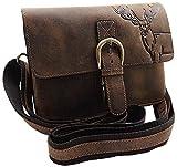 Echt Büffel-Vollleder Handtasche mit Tragegurt in Hoch- oder Querformat mit Hirsch-Motiv in Braun (Modell 2 / Querformat)