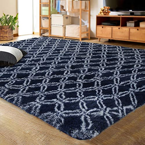 Plush navy and white area rug