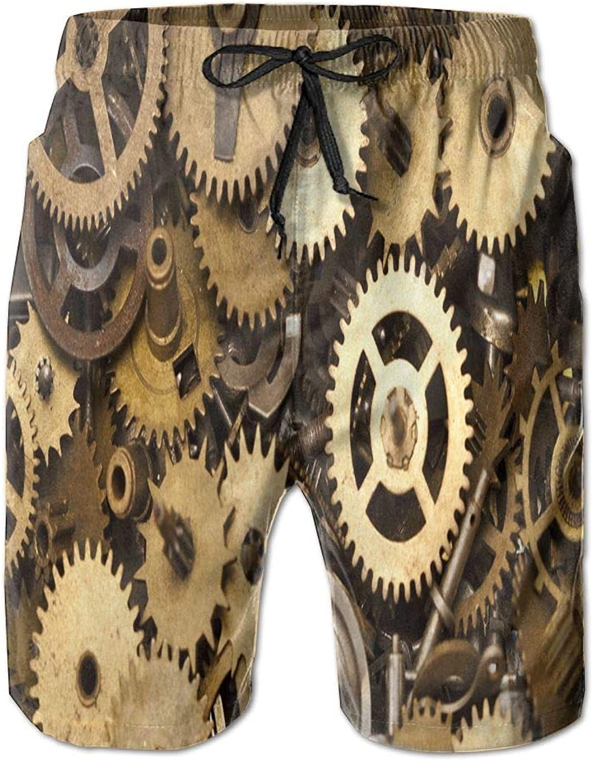 UAJAR Steampunk Gears Mens 3D Printed Board Shorts Cool Beach Swim Shorts Swim Trunk