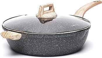 CAROTE Non stick Granite PFOA Free Easy Clean Kadhai Pot with Lid (Black, 32cm, 6.1L)