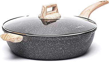 Carote 6.5-Quart Nonstick Saute Pan with Helper Handle, Deep Skillet with Cover, Non-Stick Jumbo Cooker Granite Coating fr...