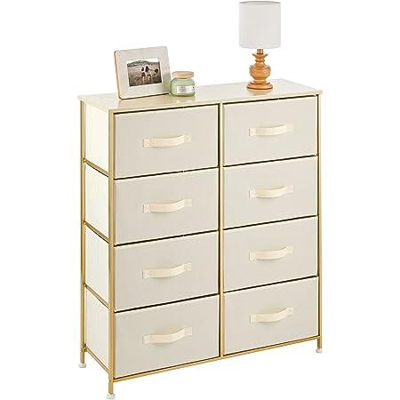 mDesign commode à 8 tiroirs – meuble à tiroirs en panneau de bois MDF pour la chambre à coucher, le salon ou le couloir – rangement vêtements en métal et tissu – couleur crème/laiton