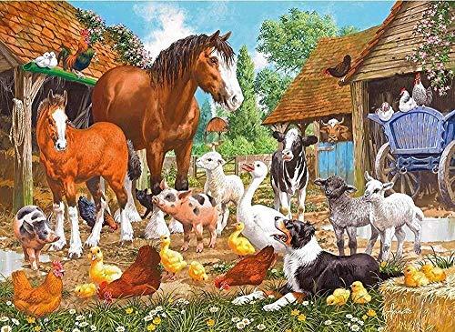 Pintar por Numeros Adultos Niños para DIY Pintura por números con Pinceles y Pinturas Decoraciones para Granja de animales Decoración de regalo de festival-16x20inch