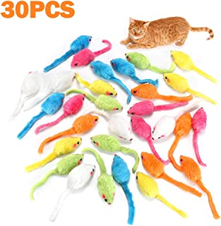 MeoHui 30PCS Catnip Toys for Cats, 5.5 Inches Faux Furry Catnip Mouse Toy with Rattle Noise, Rattling Fluffy Cat Toys Mice...
