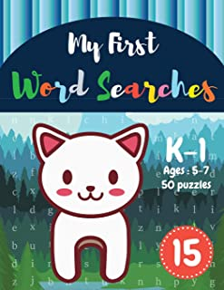 My First Word Searches: 50 Large Print Word Search Puzzles: Wordsearch kids activity workbooks - K-1 - Ages 5-7 cat design...