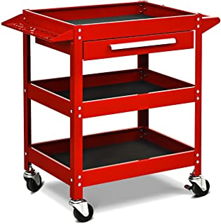 Goplus Service Tool Cart Tool Organizers, 330 LBS Capacity 3-Tray Rolling Utility Cart Trolley with Drawer, Industrial Commercial Service Cart, Mobile Storage Cabinet Organizer Dollies