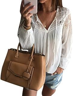 Women Long Sleeve Chiffon Lace Crochet Blouse T Shirt Tops