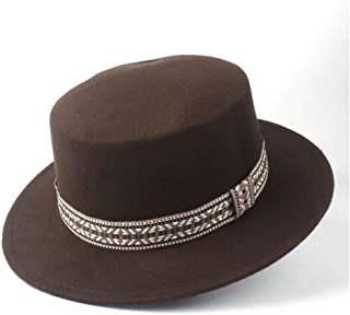 Lei Zhang New Men Women Fashion Flat Top Hat Winter Wide Brim Hat Wool Trilby Fedora Hat Panama Hat Size 56-58CM