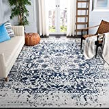 Safavieh Madison Collection MAD603D Oriental Snowflake Medallion Distressed Non-Shedding Stain Resistant Living Room Bedroom Area Rug, 6'7' x 9'2', Cream / Navy