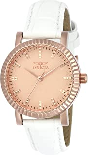Invicta Women's Angel White Leather Band Steel Case Quartz Rose Gold-Tone Dial Analog Watch 22484