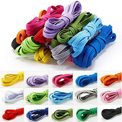 15 Rolls Flat Elastic Cord Multicolor Braided Stretch Band Ribbon Bands Craft Rope Cord for Sewing, Making Shoe Laces, Wigs, Bracelets, Crafts DIY Projects, 15 Colors (2 m)
