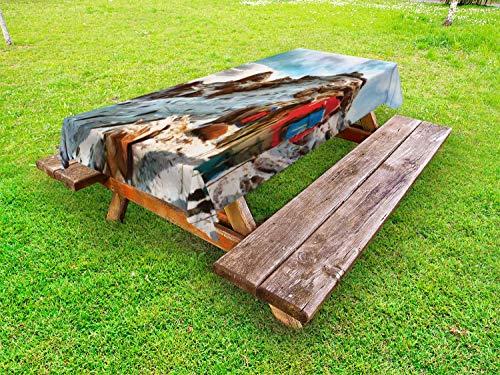 ABAKUHAUS Berg Tafelkleed voor Buitengebruik, trekkers Kilimanjaro, Decoratief Wasbaar Tafelkleed voor Picknicktafel, 58 x 104 cm, Veelkleurig