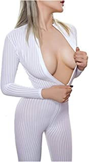 Liangliang Sheer Opaque Long Sleeve Front Zip Vertical Stripes Zentai Catsuit Cosplay Bodysuit Night Club
