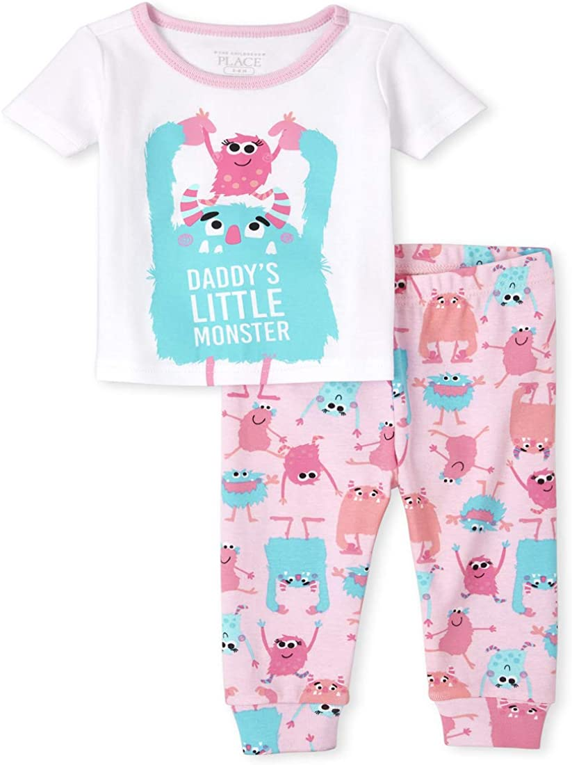 The Children's Place Baby and Toddler Girls Monster Snug Fit Cotton Pajamas