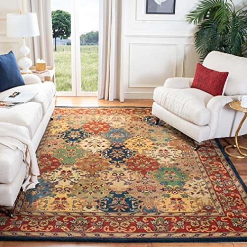 Safavieh Heritage Collection HG911A Handmade Traditional Oriental Multi and Burgundy Wool Area Rug (8' x 10')