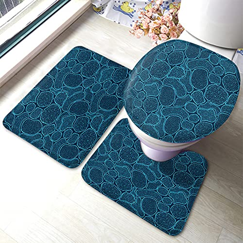 Wondertify Virus Cells Under The Electron Microscope Bathroom Antiskid Pad Microbes Bacteria in The Scanning View 3 Pieces Bathroom Rugs Set, Bath Mat+Contour+Toilet Lid Cover