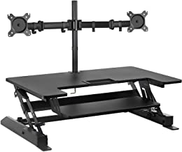 Mount-It! Standing Desk Converter with Bonus Dual Monitor Mount Included - Height Adjustable Stand Up Desk - Wide 36 Inch ...
