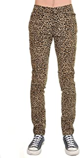 Mens Indie Hipster Punk Rock Leopard Stretch Skinny Jeans