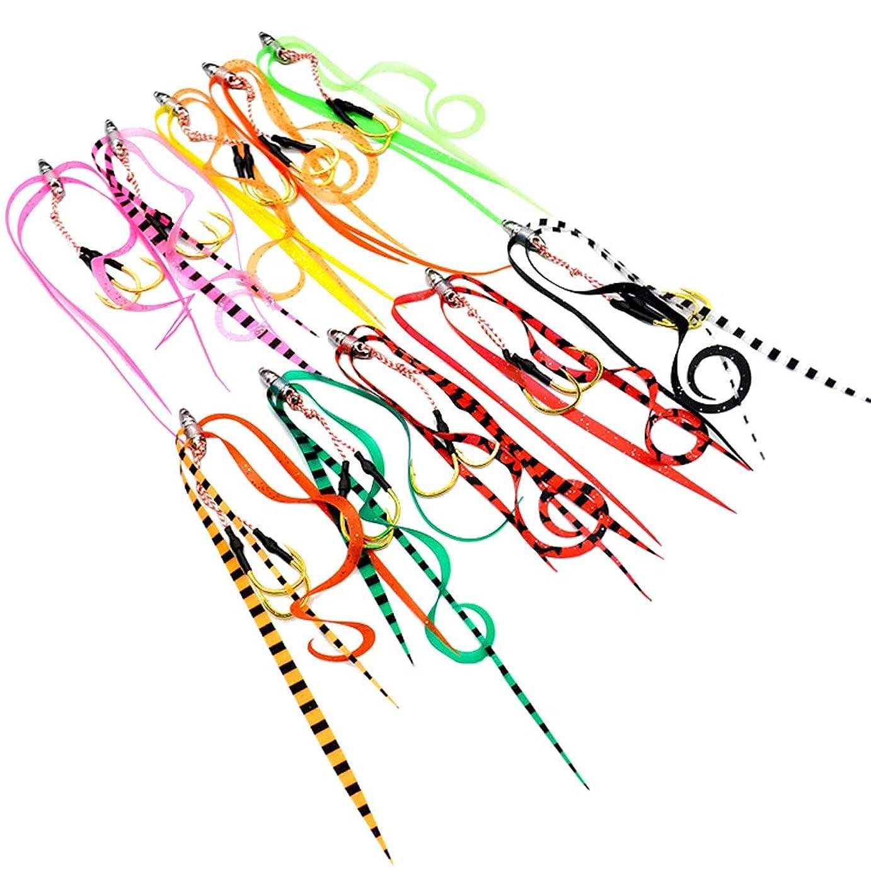 占める異常な毛皮LIOOBOシリコン釣りルアー付きリボン釣りタックルスカート釣りアクセサリー10個