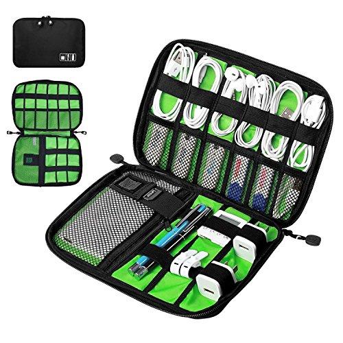 DAMIGRAM Elektronische accessoires opbergtas draagbare reistas organisator kabelopbergtas met dubbele laag draagtas voor powerbank, harde schijf, USB-sticks, kabels