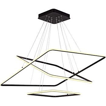 "ROYAL PEARL Modern Square Led Chandelier Adjustable Hanging Light Three Ring Collection Contemporary Ceiling Pendant Light H47"" X L32"" x W32"""