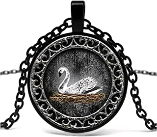 White Swan Emma Logo Glass Pendant Necklace Inspired By The Retro Necklace