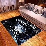 Alfombra Estampada Ciervo Animal Doodle Blanco Negro Alfombra Moderna Lavable Duradera Anti-desvanecimiento 160 x 230 cm Antideslizante Salón Alfombra Cocina Alfombra