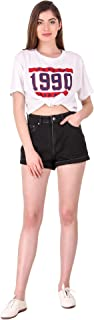 Cali Republic Womens Girls Slim Fit High Waist Folded Bottom Denim Shorts