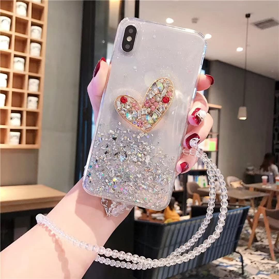 ISYSUII Compatible with Samsung Galaxy Note 20 Ultra Diamond Case Clear Bling Glitter Sparkle Stars Love Shape Case Girls Women Soft Flexible Silicone Shockproof Case with Crossbody Strap,Clear