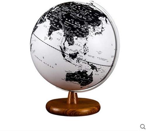 Jopjdpdsf Globe Flottant,25 Cm D'élèves De Globe Européen HD Noir Et Blanc Européen Enseignant Globe Décoration Lampe De Table