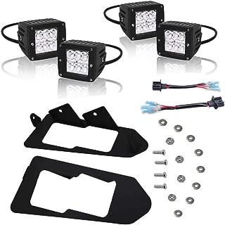 Dasen Front Headlight Mount Brackets Kit w/4 PCS LED Cube Lights Pod & Wiring Connector Off-Road Fits 2013-2019 Polaris Ranger 900 XP & CREW