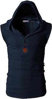 (ニカ)メンズ ベスト ノースリーブ 春 夏 薄手 フード付き コート 運動 チョッキ カジュアル ゆったり メンズ ベスト パーカー