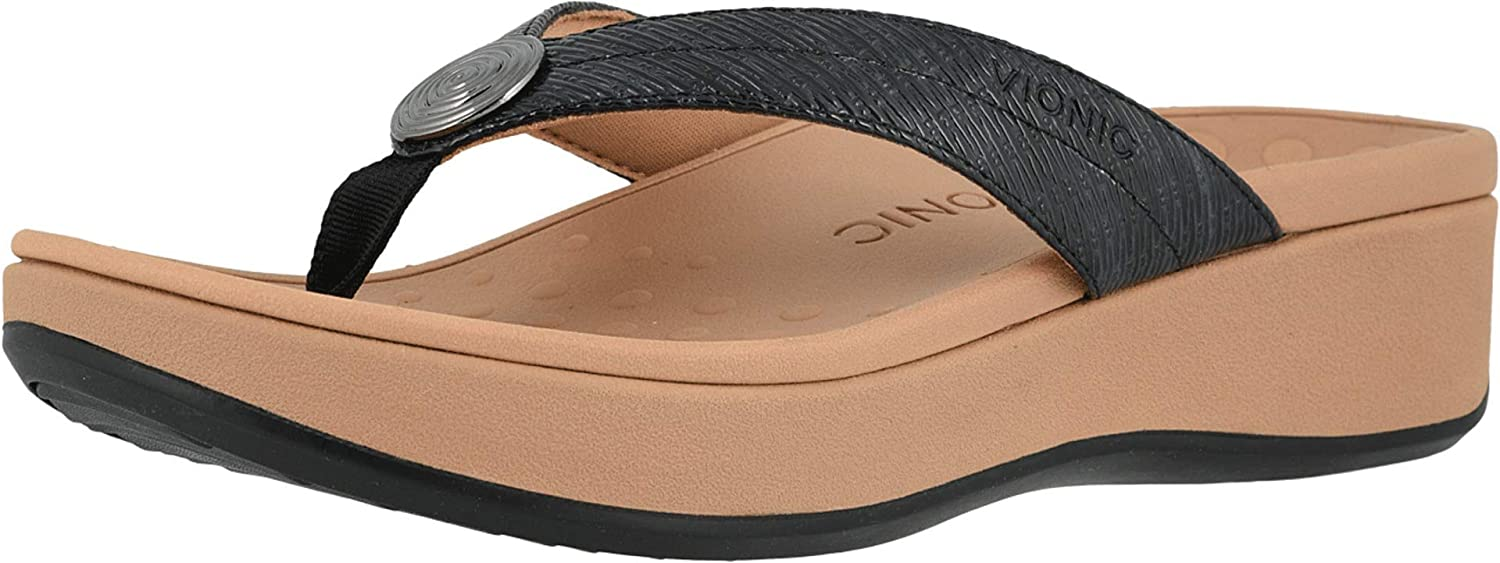 Vionic Women's Pacific Pilar Toe-Post Sandals - Ladies Platform Flip Flops with Concealed Orthotic Arch Support