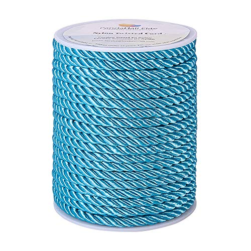 PH PandaHall 18 Yards 5mm Twisted Cord Trim 3-Ply Twisted Cord Rope Nylon Crafting Cord Trim Thread String for DIY Craft Making Home Decoration Upholstery Curtain Tieback, Dark Turquoise