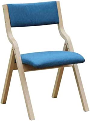 SHUILV Chair Folding Chair, Wooden Padded Dining Chairs,Home Kitchen Office Desk Chair,Removable Linen Cover,Fully Assembled Environmental Rating (Color : Blue)