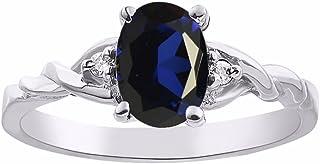Juego de anillos de zafiro y diamante en oro blanco solitario de 14 quilates