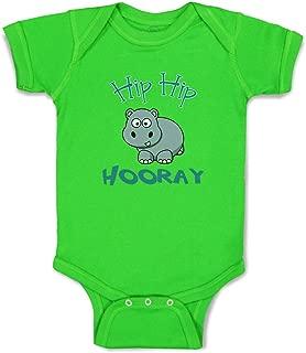 Custom Boy & Girl Baby Bodysuit Baby Hippo Hippopotamus Hip Hooray White Clothes