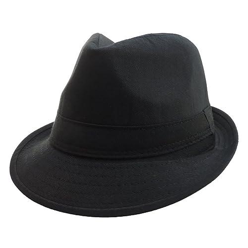 cbaeef481b004 100% Polyester Soft Black Gangster Mobster Fedora