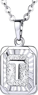 """Monogram Necklace A-Z 26 Letters Pendants 18K Gold/Platinum Plated Square Tiny Initial Necklaces for Women Girls,Chain 18"""", with Customize Service, Gift Box Packed"""