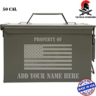 Tactical Overlord Personalized American Made Military Ammo Can – Indoor Outdoor Military Army longterm Survival Box with Property - American Flag Grunge Laser Engraving …
