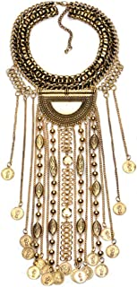 Statement Necklace, Beads Coin Fringe Statement Necklace Bohemian Ethnic Tribal Boho