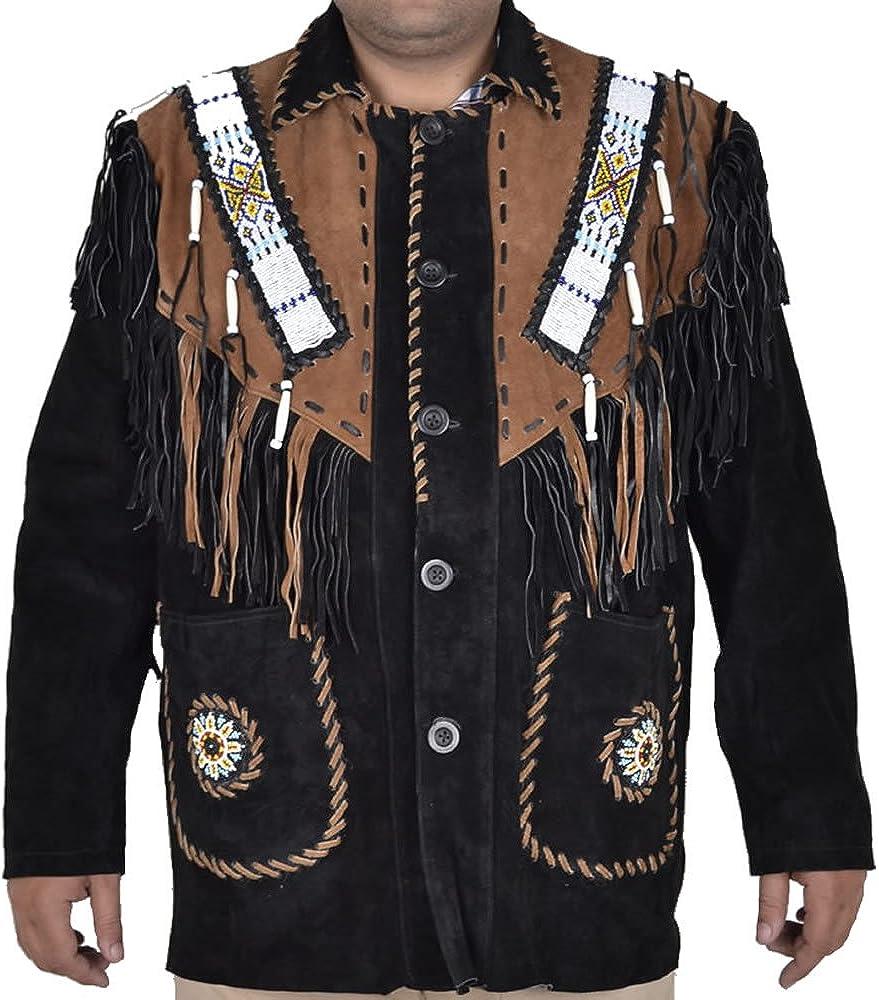 coolhides Men's Fringed & Beaded Cowboy Suede Leather Jacket