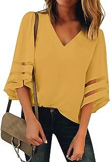 731a83e8f3 Amazon.com: Yellows - Blouses & Button-Down Shirts / Tops, Tees ...