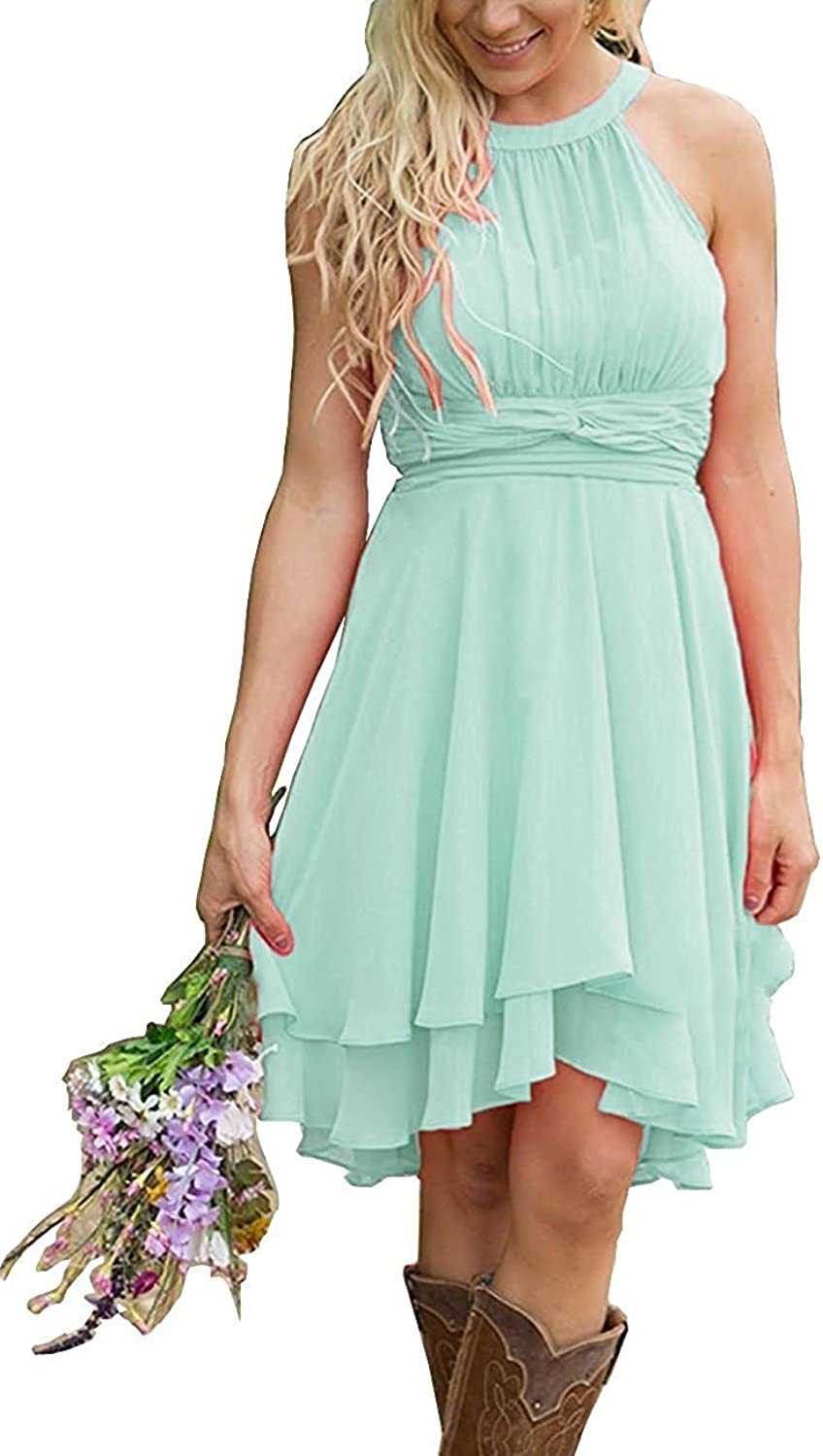 Honey Qiao Halter Country Bridesmaid Dress Hi Lo Short Maid of Honor Gown