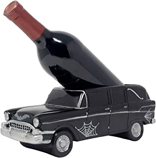 Whimsical Classic Hearse Wine Bottle Holder As Vintage Car Model Decorative Halloween Party Decorations and Spooky Gothic Décor Tabletop Wine Racks for Bar or Countertop and Funny Gag Gifts for Men