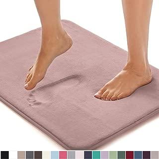 GORILLA GRIP Original Thick Memory Foam Bath Rug, 24x17, Cushioned, Soft Floor Mats, Absorbent Premium Bathroom Mat Rugs, Machine Washable, Luxury Plush Comfortable Carpet for Bath Room, Dusty Rose