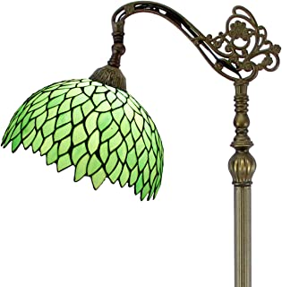 Tiffany Style Reading Floor Lamp Green Wisteria Table Desk Arched Lighting H64 Inch E26 Stained Glass Lampshade for Living Room Antique Desk Beside Bedroom S523 WERFACTORY