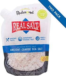 Redmond Real Sea Salt - Natural Unrefined Organic Gluten Free Coarse, 16 Ounce Pouch (2 Pack)